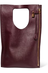 Tom Ford Alix Medium Textured Leather Tote Burgundy