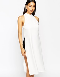 Missguided High Neck Side Split Tunic Top White