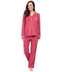 Eileen West Notch Collar Pajama Red Heather Women's Pajama Sets Pink