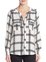 Collective Concepts Chiffon Plaid Roll Sleeve Blouse Black White