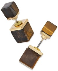 Macy's Gold Tone Square Horn Block Reversible Front And Back Earrings Brown