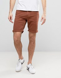 Jack And Jones Denim Shorts In Washed Rust Rust Brown