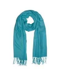Mila Schon Wool And Cashmere Fringed Stole Turquoise