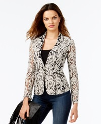 Inc International Concepts Petite Two Tone Lace Blazer Only At Macy's