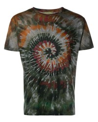 Valentino Tie Dye Cotton T Shirt Green Multi Coloured Earth Black