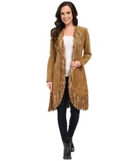 Scully Helena Long Soft Suede Fringe Leopard Lining Coat Cinnamin Women's Coat Brown