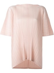 Issey Miyake Pleats Please By Slash Neck Pleated Top Pink And Purple