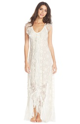 Free People Embroidered Mesh Nightgown Ivory 1103