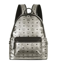 Mcm Medium Metallic Stark Backpack Female Silver