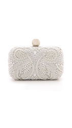 Santi Box Clutch With Embroidered Beading White