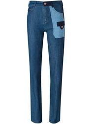 See By Chloe Bootcut Panelled Jeans Blue