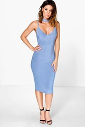 Boohoo Choker Plunge Neck Midi Dress Blue