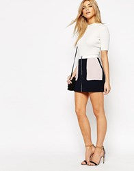 Oasis Zip Front Colour Block Skirt Multi