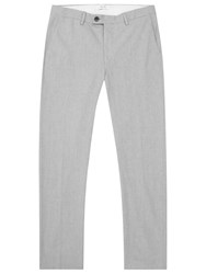 Reiss Horatio Flannel Cotton Trousers Light Grey