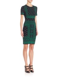 Alexander Mcqueen Flower Pattern Jacquard Intarsia Knit Fitted Dress Black Green