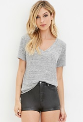 Forever 21 Marled V Neck Tee Heather Grey