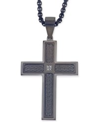 Esquire Men's Jewelry Diamond Accent Cross Pendant Necklace In Gunmetal And Black Ip Over Stainless Steel First At Macy's