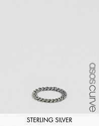 Asos Curve Sterling Silver Curb Chain Ring Silver