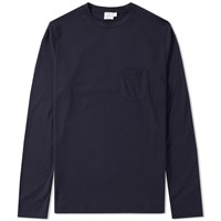 Sunspel Long Sleeve Pocket Tee Blue