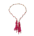 Fabio Salini Necklace Bacco In Pink And White Gold Diamonds And Pink Sapphires Pave Set Pink Sapphires Beads Red