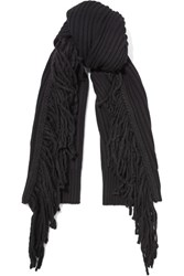 Rag And Bone Kelsey Fringed Merino Wool Alpaca Blend Scarf Black