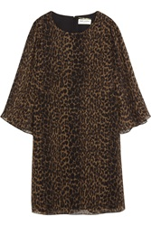 Saint Laurent Leopard Print Silk Chiffon Mini Dress