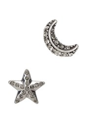 Marc Jacobs Star And Moon Silver Tone Earrings Black