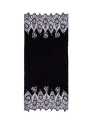 Valentino Floral Lace Beaded Plisse Pleat Cashmere Wool Scarf Black