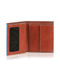 Piquadro Blue Square Men's Leather Id Wallet Orange