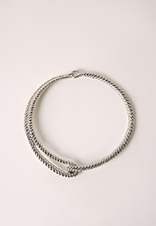 Missguided Metal Clasp Detail Choker Silver Grey