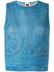M Missoni Metallic Knit Sleeveless Top Blue