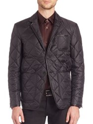 Burberry Leather Trim Quilted Blazer Black