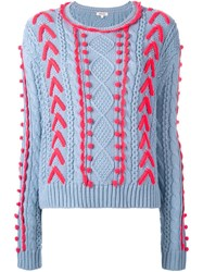 Manoush Cable Knit Woven Detail Jumper Blue