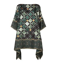 Eskandar Silk Print Top Female Green