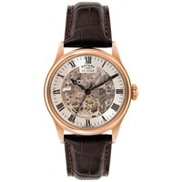 Rotary Gs02942 01 Men's Skeleton Leather Strap Watch Brown White