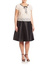 Abs Plus Size Short Sleeve Lace Dress Black Ivory
