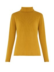 Chloe Roll Neck Cashmere Sweater Dark Yellow