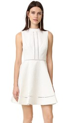 Cynthia Rowley Textured Jacquard Fit And Flare Mock Neck Dress Ivory