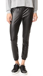 David Lerner Vegan Leather Track Pants Classic Black