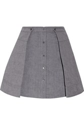 Alexander Wang T By Pleated Cotton Mini Skirt Gray