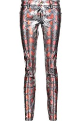Just Cavalli Coated Mid Rise Skinny Jeans Silver