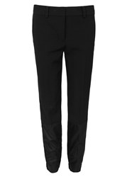 Dkny Black Cropped Wool Trousers