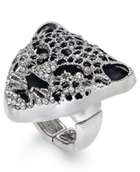 Thalia Sodi Silver Tone Black Crystal Jaguar Stretch Ring Only At Macy's