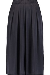 Iris And Ink Pleated Silk Satin Culottes Midnight Blue