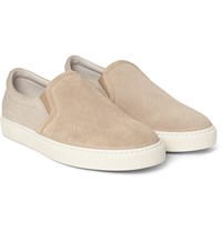 Brunello Cucinelli Perforated Suede And Twill Slip On Sneakers Navy