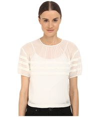 Red Valentino Crop Blouse With Stripe Detail White