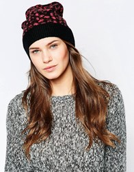 French Connection Electric Leopard Beanie Hat Pink