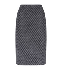 Armani Collezioni Textured Houndstooth Pencil Skirt Female Dark Grey