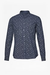 French Connection Men's Winter Premium Mix Collar Shirt Blue