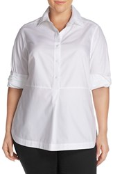 Foxcroft Plus Size Women's No Iron Cotton Long Sleeve Tunic Shirt